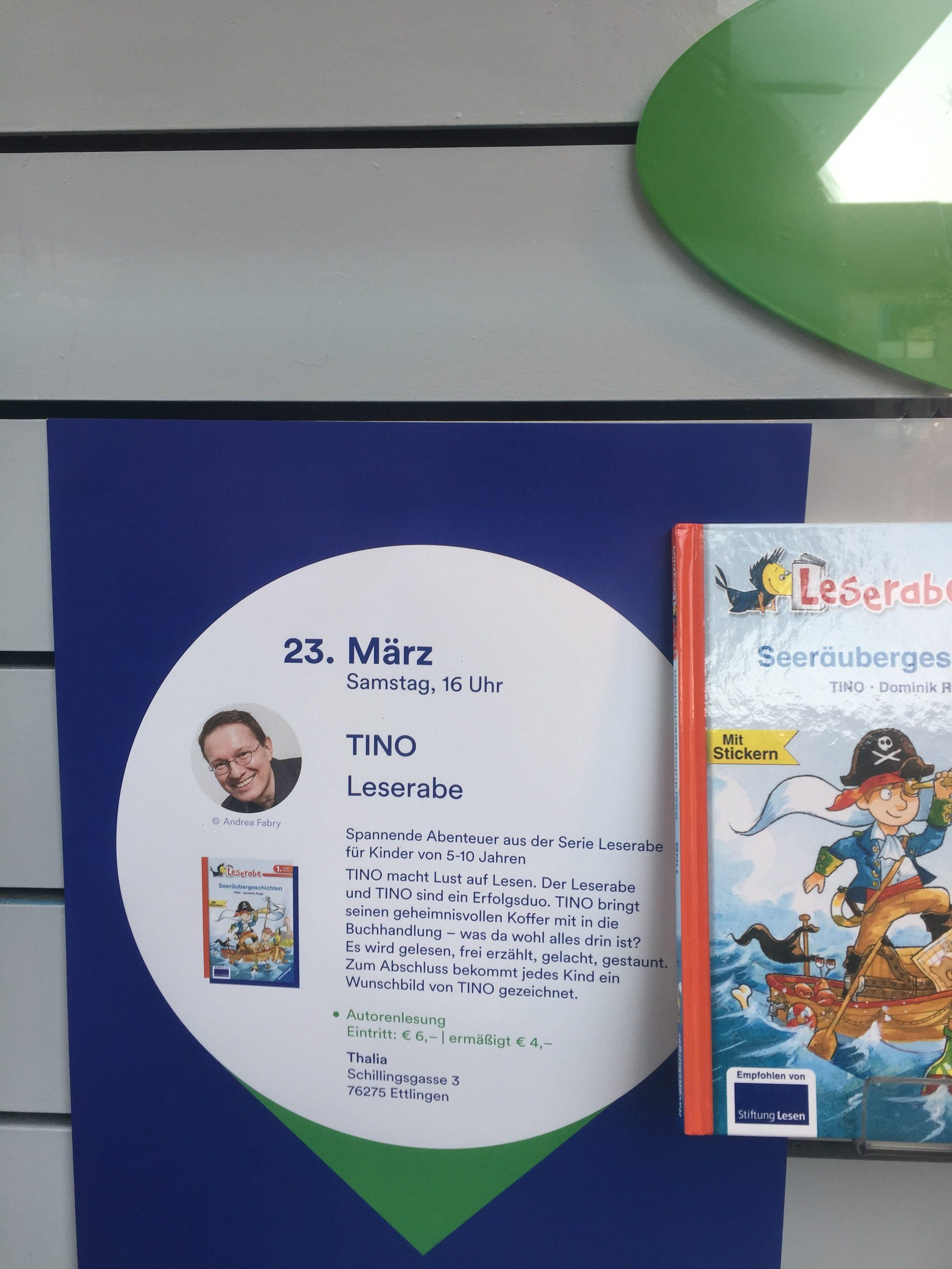 Einladung zur öffentlichen Leseraben-Veranstaltung mit TINO in der Buchhandlung Thalia: